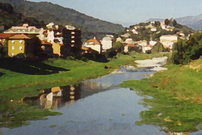Italian village<br /> drybrush