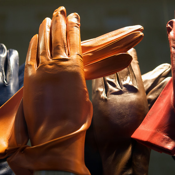 """F"" fashionable gloves in a Paris window display"