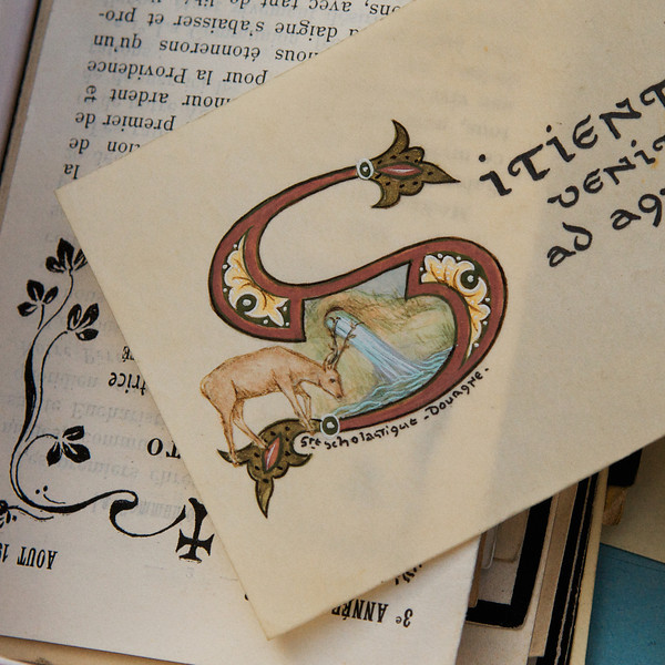 """S"" old manuscript on sale at a flea market"