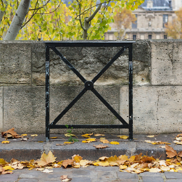 """X"" ironwork along the Seine"