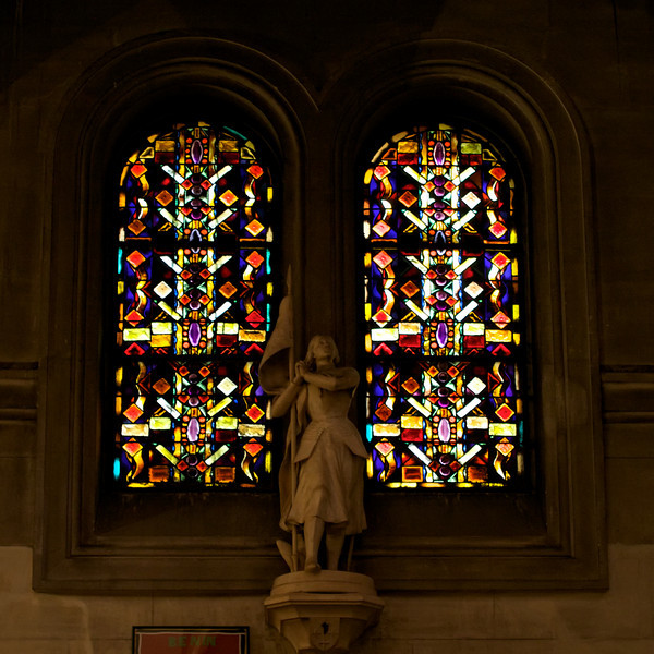 """M"" Stained glass with Joan of Arc version"