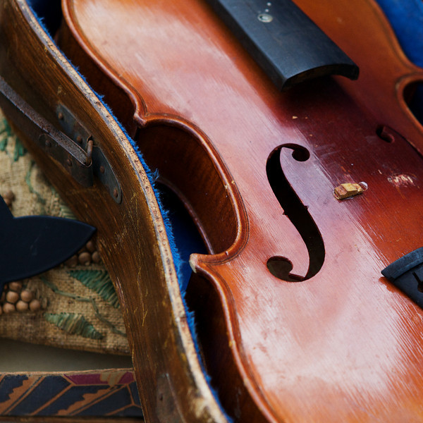 """S"" broken violin on sale at a flea market"