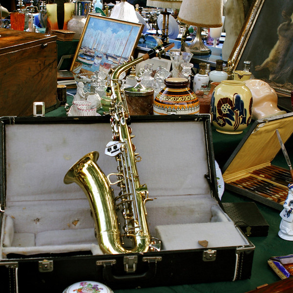 """""""J"""" A reminder of Paris' love of jazz sits in a flea market stall"""