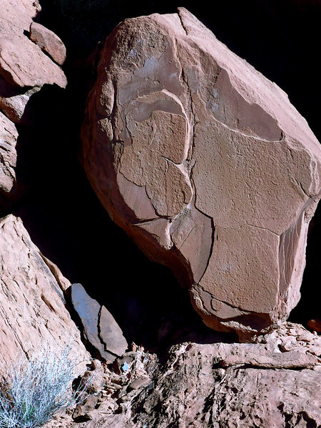 """""""Homage to Salvador Dali"""" See his: """"La Solitude, 1931"""" Wadsworth Atheneum Museum of Art (P. 77. Eric Zafran, Surrealism and Modernism). """"SOLITUDE"""" A red sandstone boulder found in this position at sunset. 10/24/2007. North of Lake Mead. Mohave desert. Nevada."""