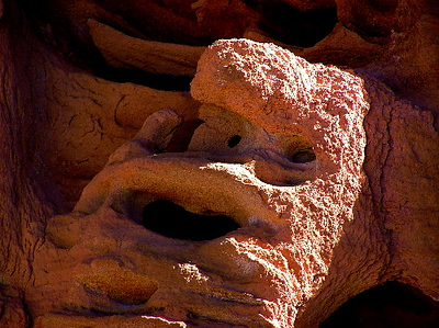 """Selenus,"" Homage to Greece. A satyr. Red sandstone; Mohave desert, Nevada.  2007"