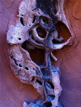 """Calavera"". Homage to Diego Rivera. Sandstone cave,<br /> Mohave desert, Nevada. 2007."