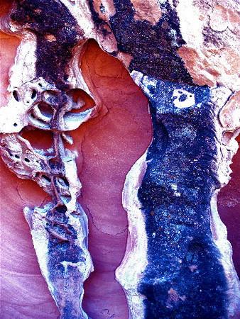 """""""Calavera and Kikimora"""". Homage to Diego Rivera,<br /> Mexico; and the Russian folklore hobgoblin Kikimora. Sandstone cave, Mohave desert, Nevada. 2007"""""""