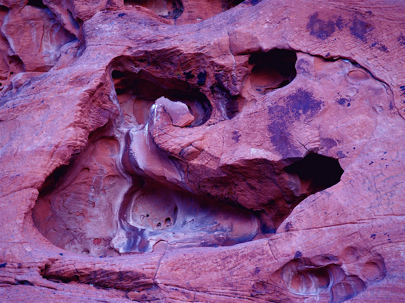 """Entrance to Hell"" See the black snake crawling up into the entrance. White guano droppings around, and little devils watching. Cave opening reminding of a duck. Mojave Desert, North of Lake Mead. Red Sandstone. From my series ""Coprolites. 4/19/05 <br /> <br /> This image was rotated 90 degrees counter clockwise to reveal the VM version of ""Beauty and the Beast"" during a collaboration with J Coleman Miller."