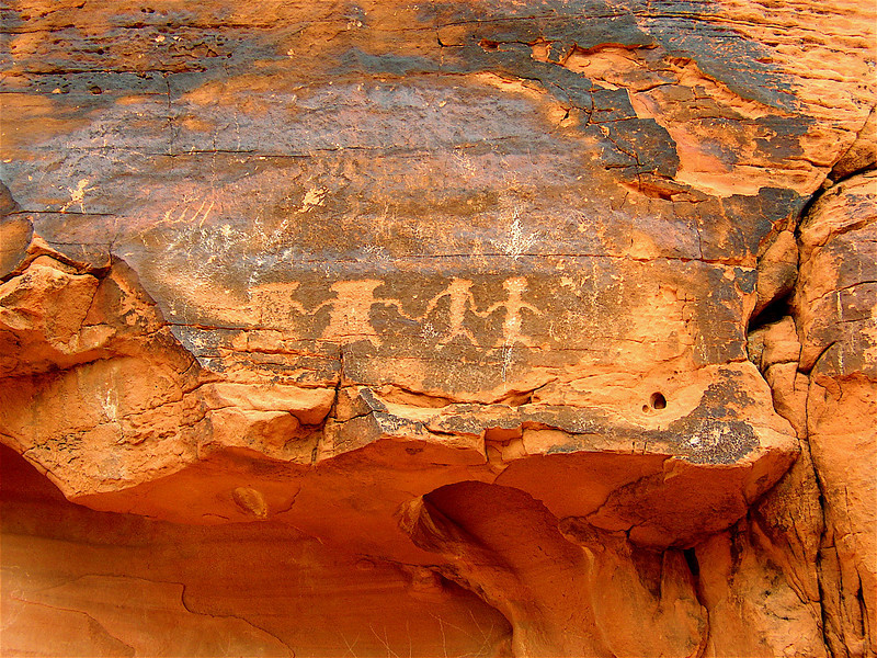 PC290022 Indian Petroglyphs partially destroyed by Tourist Vandals by<br /> scratching. Mohave Desert, North of Lake Mead. 2003