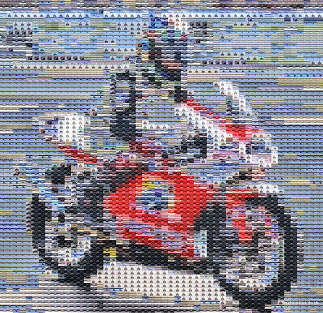 Portland International Raceway. In memory of Peter Lenz, this mosaic was assembled from 20+ photos that I shot on August 22nd, 2010. I was at the track taking photos of several races, and only later, did I realize I had captured a couple dozen photos of Peter during an early afternoon race. Peter lost his life the following weekend while racing at Indianapolis Motor Speedway. He was 13 years old and an admired USGPRU 125GP and 250GP motorcycle road racing national championship. All sales proceeds will be directed to the Peter Lenz Memorial Athletic Field, Vancouver, WA.
