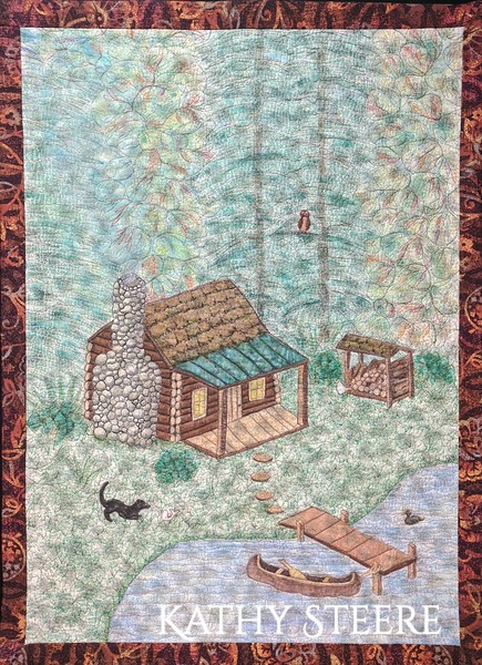 """""""Log Cabin in the Woods"""", 19"""" x 26"""", 2020"""