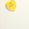 No way Yellow Candy Heart on White Background