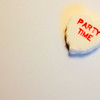 Party TIme White Candy Heart on off White Background