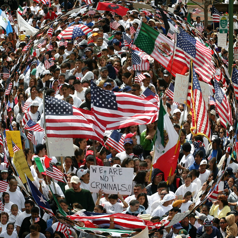 THE IMMIGRATION BUBBLE - This was taken in front of the Federal Building in Oakland, California during a demonstration for immigration rights on April 10, 2006