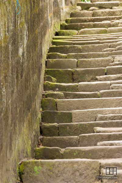 Stone staircase in the Senganen Garden, Kagoshima, Japan