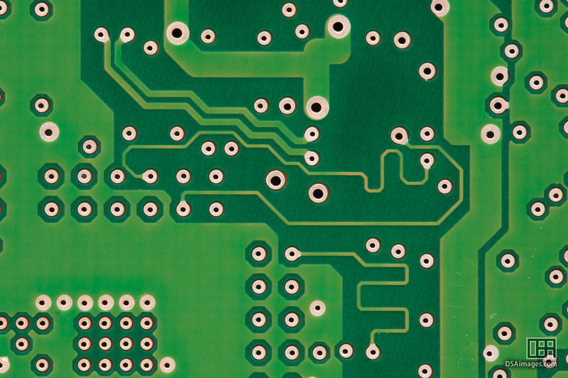 Close up of a hard drive circuit board