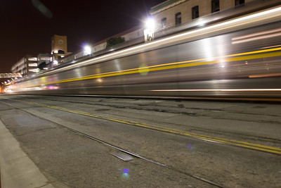 Trains passing in the night... not quietly might I add...but with a shining armor that definitely looks cool.