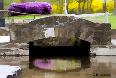 Hubbard park, Meriden ct, painting, watercolor, abstract, bridge, water, lake, stream, brook, stone, rocks, stone wall