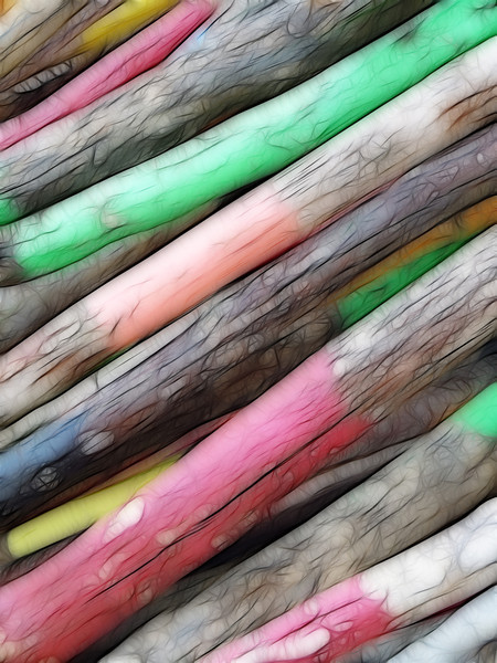 NORWEGIAN WOOD (2)<br /> <br /> A series of eight images created from a single photograph taken while at the Visitors Center in Geirangerfjord in Norway. The original image was of a pile of colourfully painted wooden stakes.