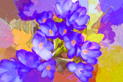 spring, flowers, art, painting, watercolor, purple, abstract, croakus, plant