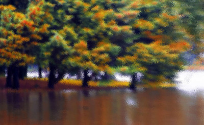 Orange Ct., lake, trees, tree, art, watercolor, painting, indian lake, rain, full, overflow, spring, color, colors, abstract