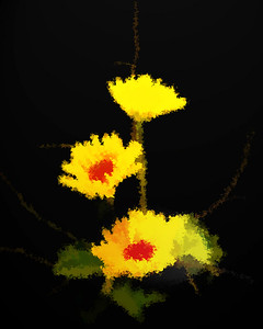 yellow, flower, flowers, abstract, art, oil paint, oil on black, abstract