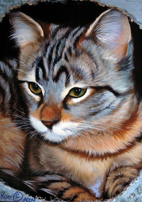 "Our Kitten ""PepperAnn""  11 x 14  Acrylic on Claybord"