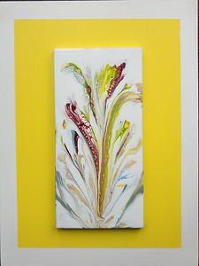 $35. String  pull floral painted 4x8in. tile on 9x12in. board.