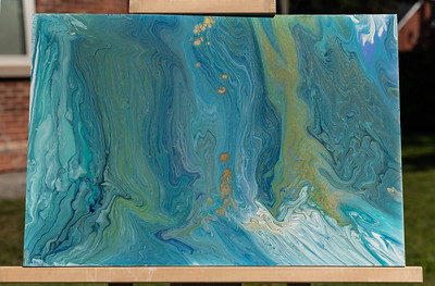 $95. Acrylic pour on acrylic sheet with resin coating. some metallic paints. Hanging hardware not included. 19.5x13.5 in.
