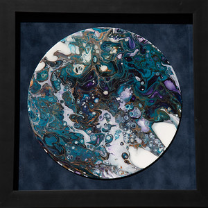 $100. Acrylic pour on 12in. record , resin coated.