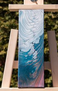 $25. Acrylic cloudy pour on 4x12 canvas.