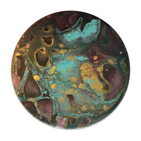 """Acrylics on 6"""" wooden round"""