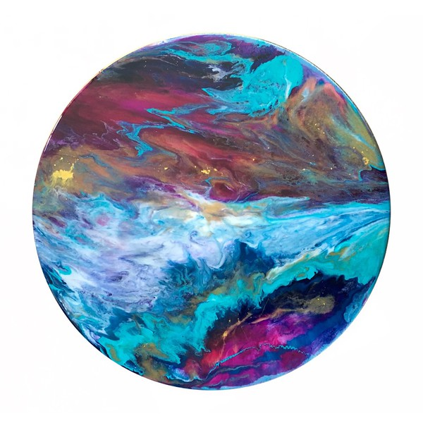 "12"" wooden circle<br /> acrylics and resin"