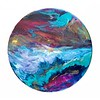 """12"""" wooden circle<br /> acrylics and resin"""