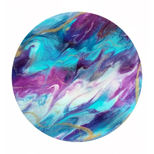 "Acrylic paints mixed with resin<br /> 12"" Wooden circle from Woodpeckers<br /> (in private collection)"