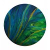 "Acrylic, mica powders in resin<br /> 12"" wooden circle"