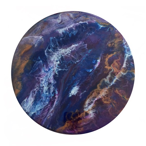 "6"" wooden circle<br /> acrylics and resin"