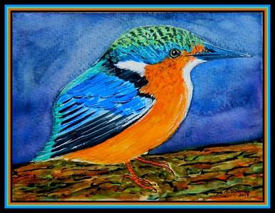 1-Madagascar Kingfisher, mixed media, 7 5x5 5, april 10, 2019 DSCN9956A