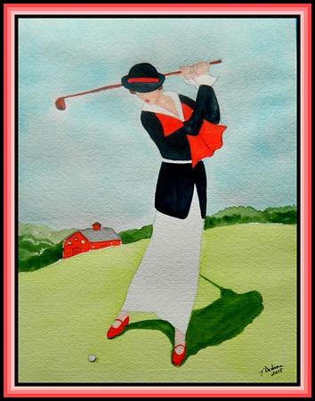 1-Lady Playing Westchester CC, 1920  9x11 5, watercolor, nov 20, 2015 adopted  Angelika Schmidt-Durdaut, Husum, Germany, july 2016 DSCN9109