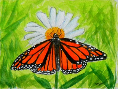 #Monarch , 4 5x6, watercolor, march 14, 2016  Adopted Sarah Barofsky, Denver, Co