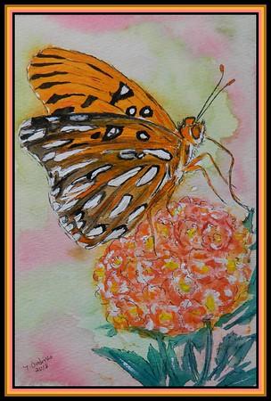 1-Gulf Fritillary, 6x9, 155x230mm, watercolor, acrylic and ink, june 9, 2018  Adopted by Dianeya Amand Vidal, Asuncion, Paraguay, june 11, 2018 DSCN9803-A
