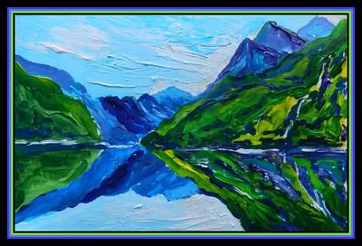 1-Lake Koman, Albania, 150x250mm, acrylic on paper, oct 16, 2018 adopted Catherine  Bohne, Tropoje, Albania, oct 26, 2018