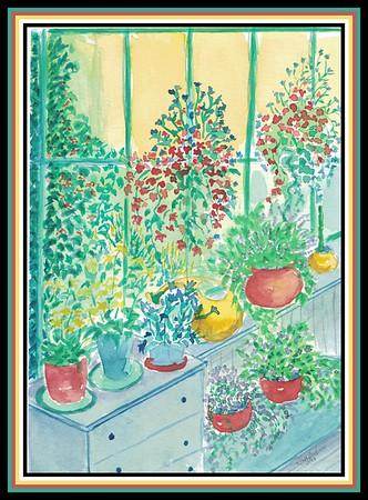 1-Back Porch Garden, 6x8 watercolor, aug 12, 2013  adopted, icaella Chyven Gadin, Philippines, 10 30 20, via Norman, OK