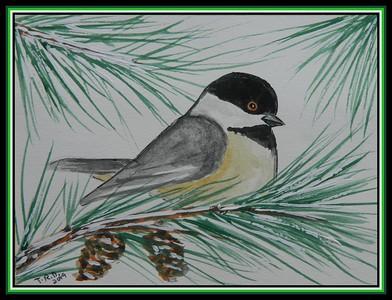 1-Chickadee sketch, 4 5x6, watercolor, nov 8, 2019 to JoAnn Raatz Helm, Oshkosh, WE, jan 2, 2020 DSCN9896A