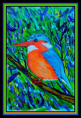 1-Malachite Kingfisher, 155x230mm, acrylic on paper, jan 13, 2019 adopted Dr Martin Celuch, Bardejov, Slovakia, jan 14, 2019 DSCN9773A