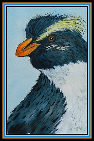 1-Fiordland Crested Penguin, New Zealand  150x230mm, watercolor, acrylic and ink, aug 6, 2018  Duncan Warson, Wellington, New Zealand, sep 7, 2018