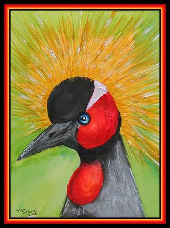 1-Black-crowned Crane, Tanzania, 5 75x8, mixed media, may 1, 2018 - adopted Roman Mlay, Arusha, Tanzania, june 2, 2018 DSCN0116A