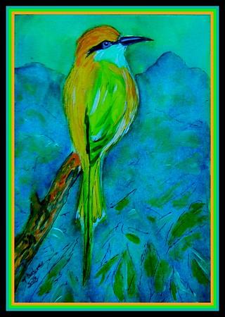 1-Green Bee-eater, Sri Lanka, 6x9, acrylic, watercolor, ink, june 3, 2018  Adopted by Mekhala Dahanayake, Nugegoda, Sri Lanka, june 5, 2018 DSCN9780-1