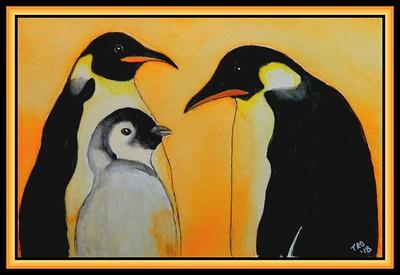 1-Emperor Penguins, 160x230mm, watercolor, acrylic & ink, oct 19, 2018 - Dumont d'Urville Station, Adelie Land, Antarctica, mailed oct 22, 2018 j