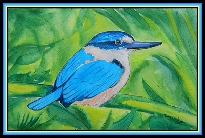 1-Flat-billed Kingfisher, 150x220MM watercolor, Nov 5, 2018, Samoa Conservation Society, Vailima, Samoa DSCN0045A